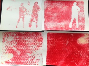 used stencils and bubble wrap